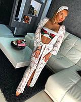 Накидка-кафтан в пол с чалмой ажурная красивая вязка разные цвета Kkdor62, фото 1