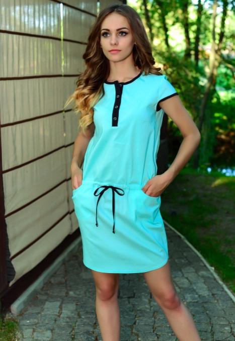 Стильное ментоловое платье с кулиской Д-1231