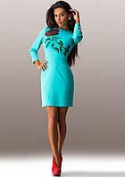 Бирюзовое платье на весну Д-1201