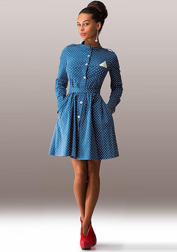 bde52cd1c40f347 Джинсовое повседневное платье-коктейль Д-1196 - KORSETOV - Магазин женской  одежды и белья