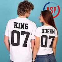 Футболки парные для влюбленных футболки KING QUEEN именная футболка