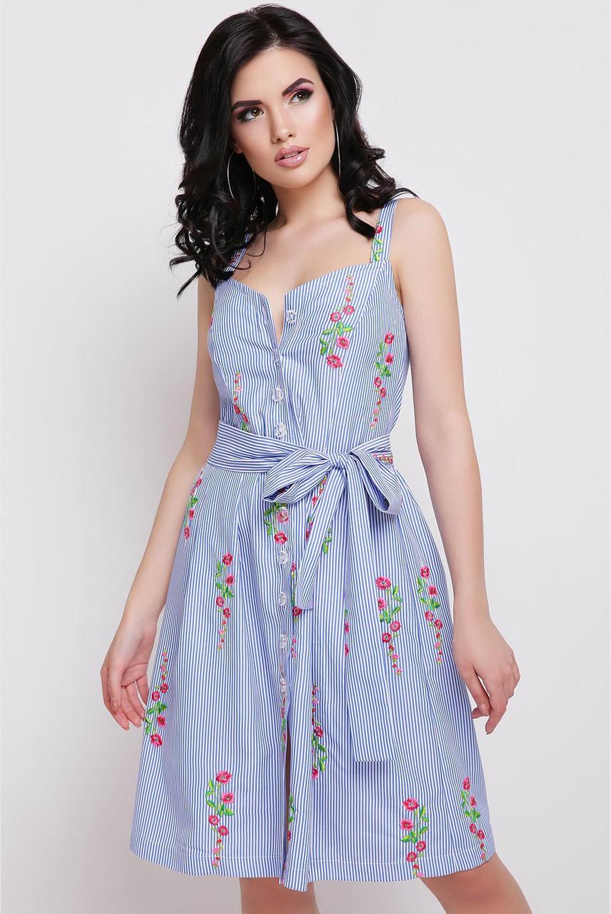 Модное платье мини полуприталенное без рукав полосатое цветочный принт синее