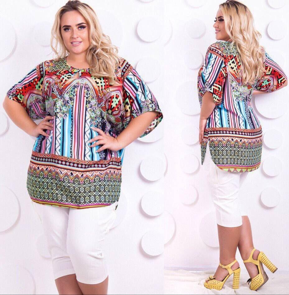 """Легкая женская блуза ткань """"Штапель"""" размер 54 батал"""