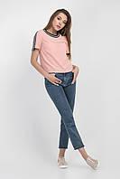 Модная блузка-футболка цвета персик, с лампасами на рукавах Код:710524651