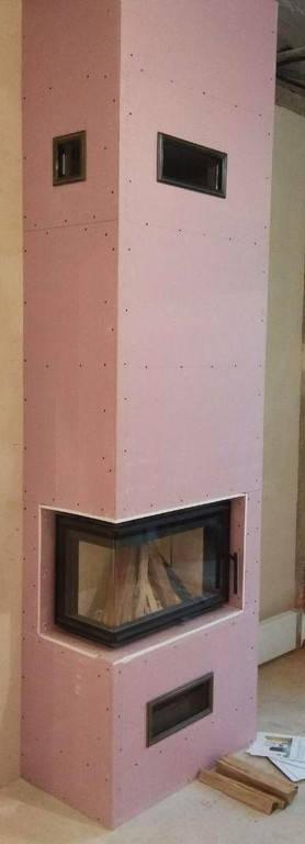 Строительство камина углового формата «под ключ» с каминной топкой Romotop и дымоходом из нержавеющей стали в Харькове