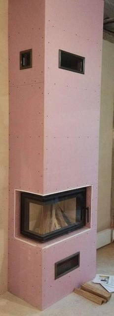 Строительство углового камина в квартире с каминной топкой Romotop в Харькове
