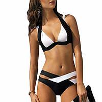 Раздельный летний черно-белый женский купальник с переплетами, бюстик пушап,размер XL
