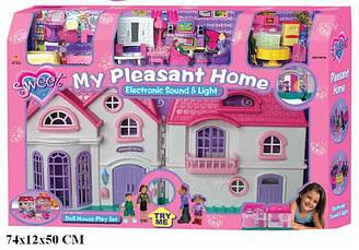 Будиночок 16428 з ляльками, меблями, батар. муз. світ. в кор. 74,3*12,2*49,8 см