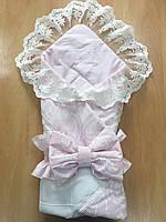 """Эксклюзивный, нарядный конверт на выписку из роддома для девочки """"De Lux"""" розовый"""