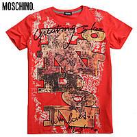 Футболка мужская молодежная Moschino-1221 красная