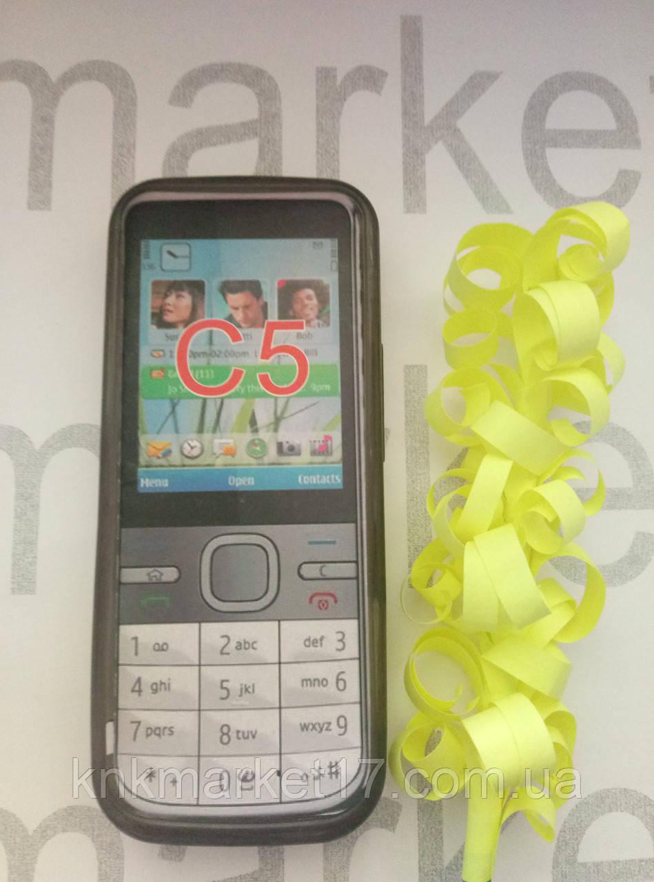 Чехол для Nokia C5  (силикон черный прозрачный)