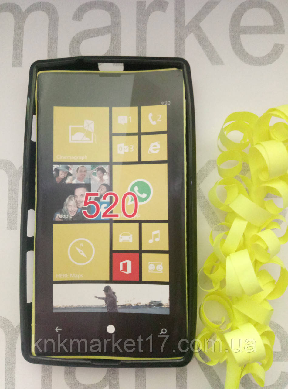 Чехол для Nokia 520  ( черный силикон)