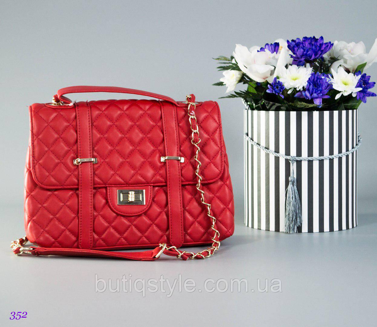 Модная женская стеганая красная сумка Ch@nel