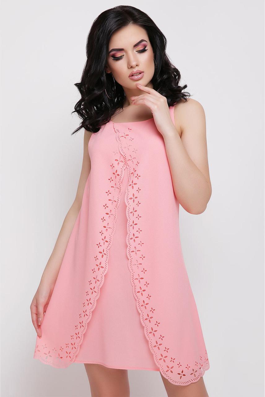 Летнее платье мини свободное без рукав креп шифон персиковое