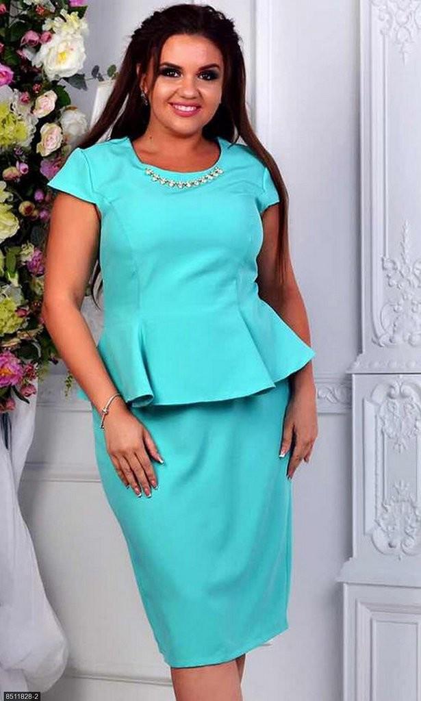 Шикарное женское платье с баской ткань *Костюмная* 48  размер батал