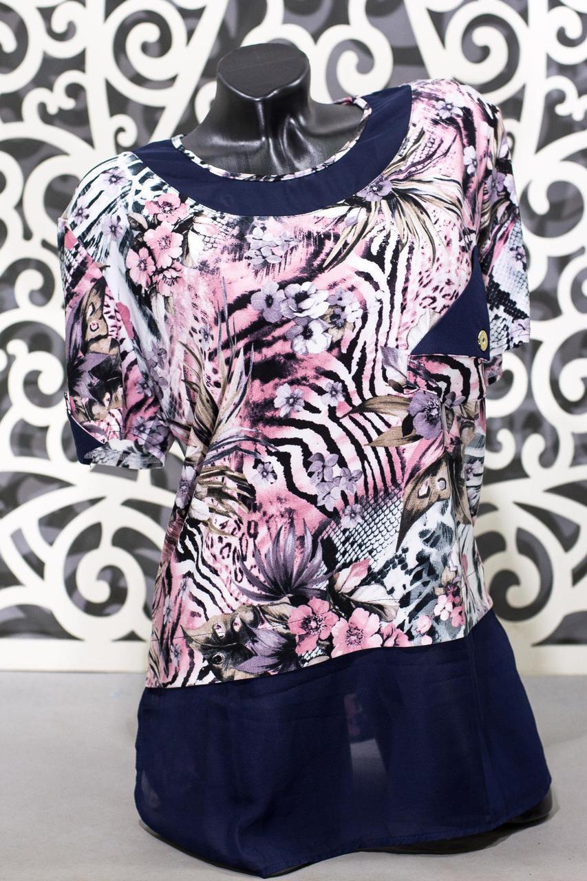 """Модная женская футболка ткань """"масло"""" 54 размер батал"""