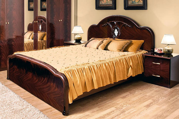 Кровать двуспальная в классическом стиле Лаура Світ меблів, цвет махонь, фото 2