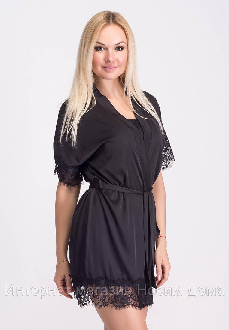 Женский кружевной халат черный 056c0b8536e3c