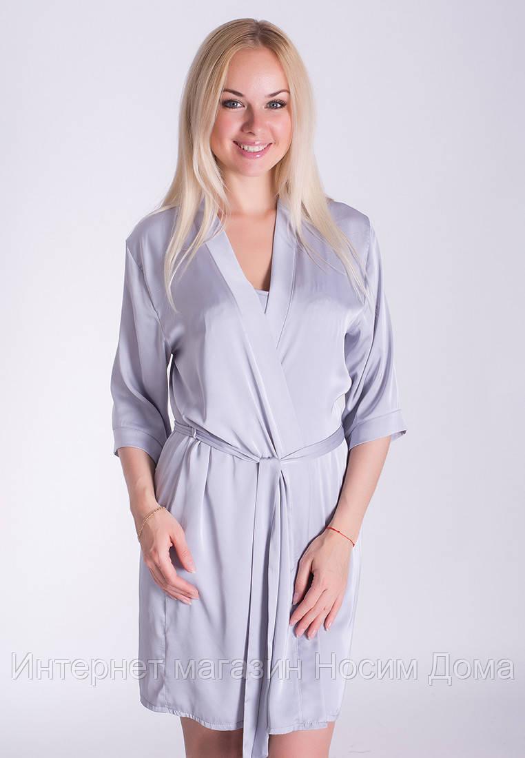 0a8fb6f0c132b Однотонный женский халат для дома из шелка Х09п - Интернет магазин Носим  Дома в Киеве