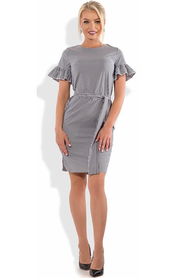 Хлопковое платье с коротким рукавом и поясом Д-1296