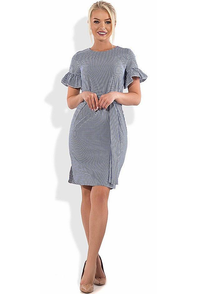 Хлопковое платье с коротким рукавом и поясом Д-1295