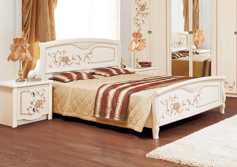 Кровать двуспальная с художественной росписью Ванесса Світ меблів, цвет светлый венге