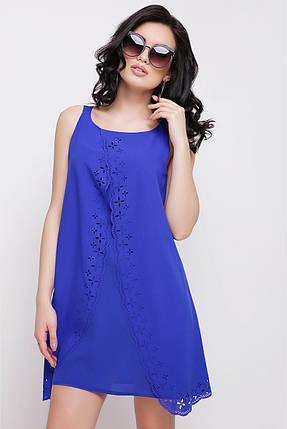 Легкое платье выше колен без рукав шифон свободного кроя цвет электрик, фото 2