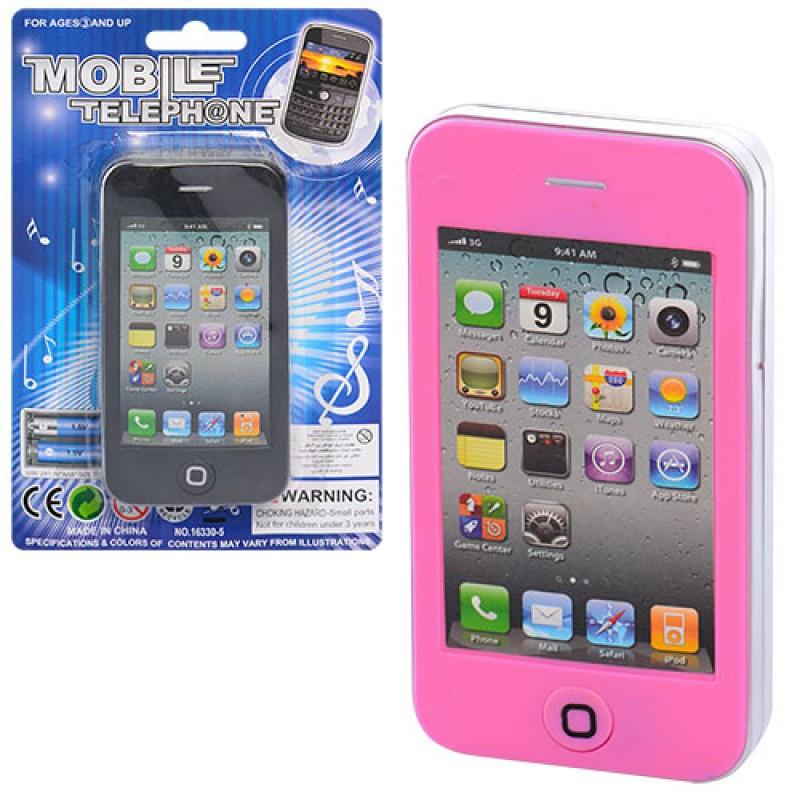 Дитячий іграшковий Телефон 16330-5C, 11,5 см, музичний, звук (англ), 2 види, в коробці, 12-18,5-1,5см