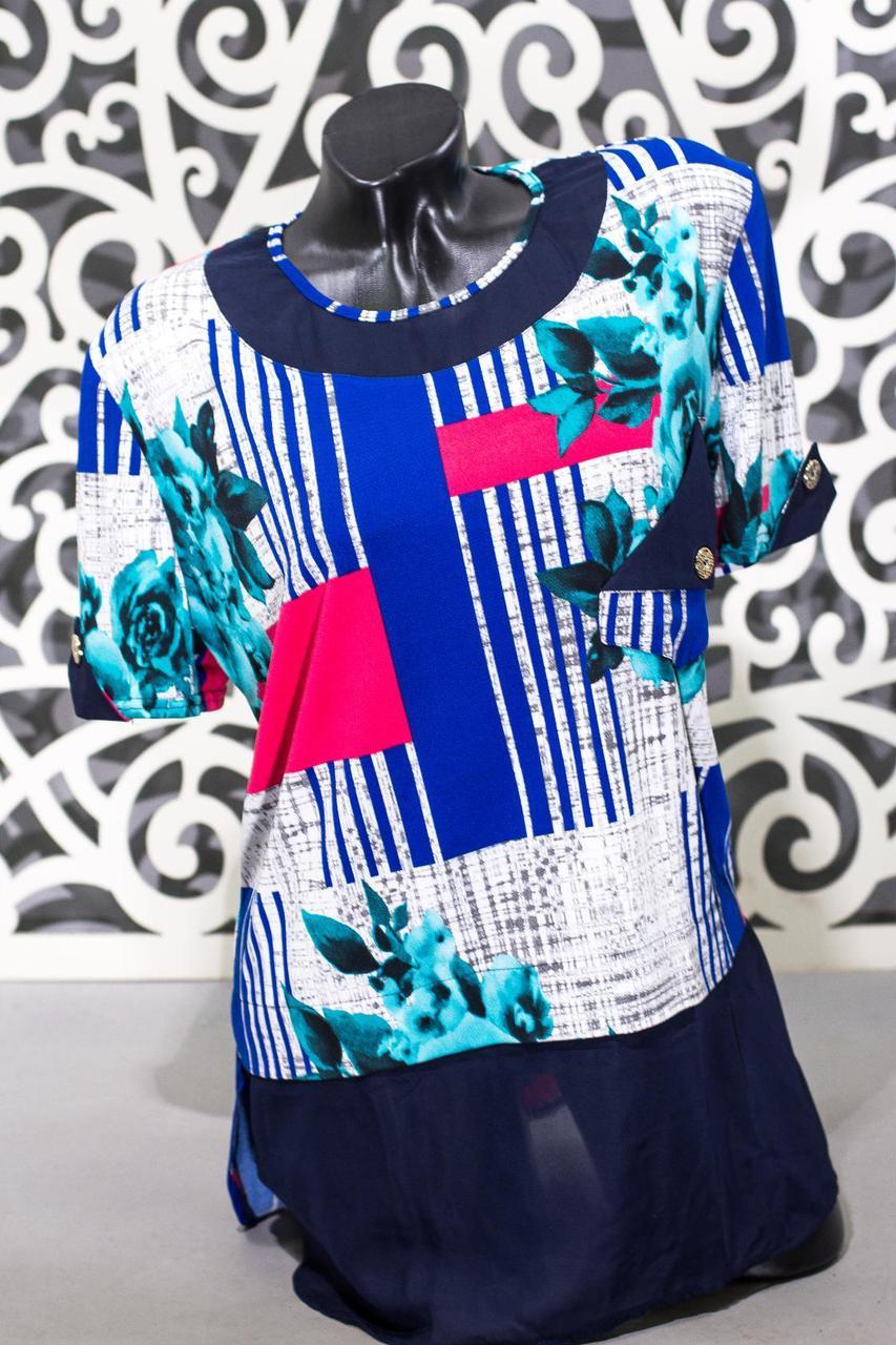 """Модная женская футболка ткань """"масло"""" т 56, 58 размер батал"""
