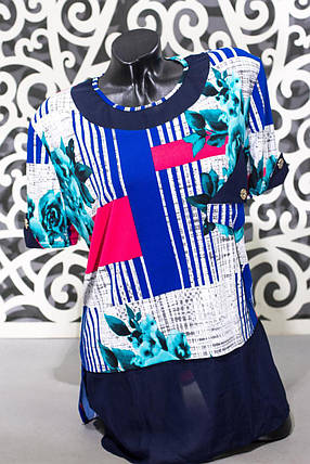 "Модная женская футболка ткань ""масло"" т 56, 58 размер батал, фото 2"