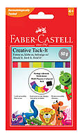 Клейкая масса Faber-Castell TACK-IT  50г в форме ленты для многоразового использования неоновых цветов, 187094