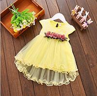 Платье детское нарядное 4-5 года желтое