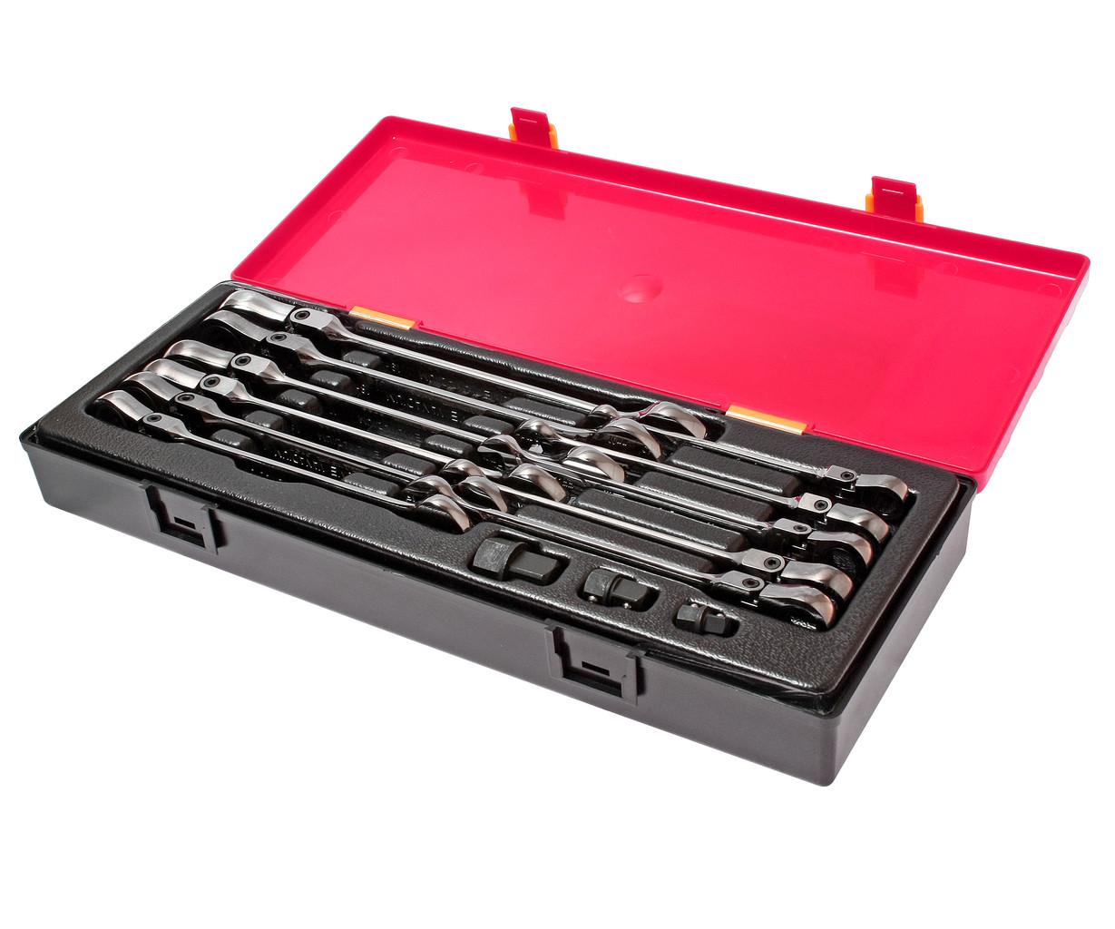 Набір ключів рожково-накидних 8-19мм., шарнірних з тріскачкою (14ед.) K6142 JTC