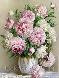 Алмазная вышивка ваза с пионами, полная выкладка, квадратные стразы 30, 40, БЕЗ ПОДРАМНИКА