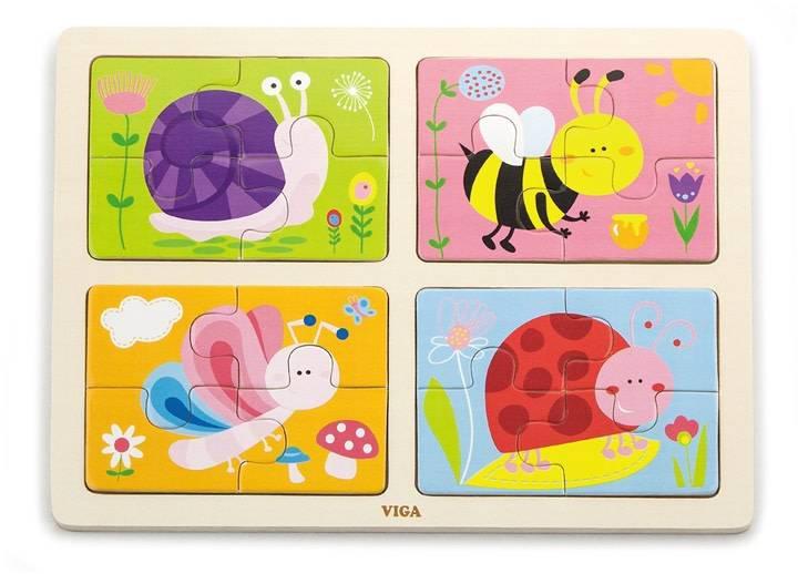 Пазл 4-в-1 Насекомые Viga toys (50189)
