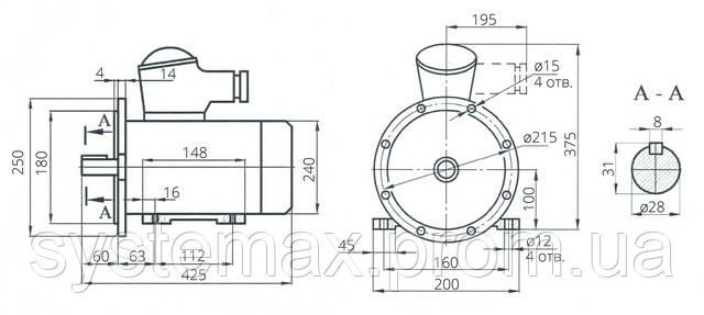 Взрывозащищенный электродвигатель АИУ 100S4 (ВАИУ 100S4)