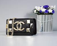 Стильная женская черная сумка Шанель экокожа на цепочке