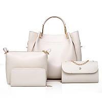 Дефект. Набор женских сумок 4в1 белый из качественной экокожи опт