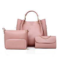 Набор женских сумок 4в1 розовый из качественной экокожи