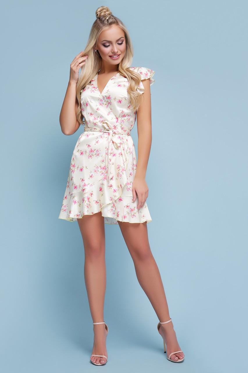cb48c858e195d5c Легкое шелковое платье на лето короткое в горох с цветами и рюшами Алиса б/р