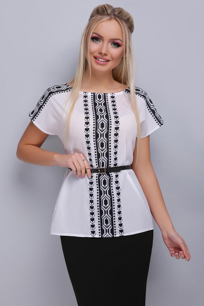 2cd5d2d879f Легкая белая шифоновая блузка с коротким рукавом узор Орнамент черный блуза  Мира б р