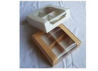 Коробка для десертов 20*20*6 белая,крафт Галетте - 06447