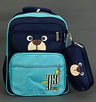 Детский школьный рюкзак 40х30х20см, ортопедическая спинка, 1+2 отделения, 2 кармана, пенал, ГОЛУБОЙ