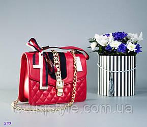 Стильная женская красная сумка G_cci на цепочке и с лентой тренд 2018 года