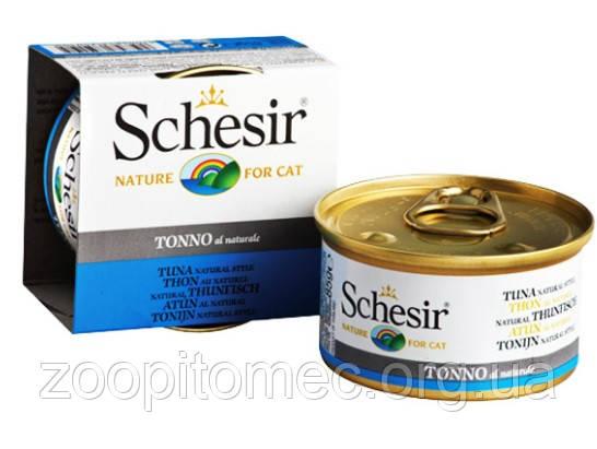 Влажный корм для кошек консерва Schesir (Шезир) Tuna Natural Style тунец в собственном соку, банка 85 г