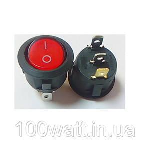 Кнопка круглая 3 контакта красная с подсветкой GAV 161