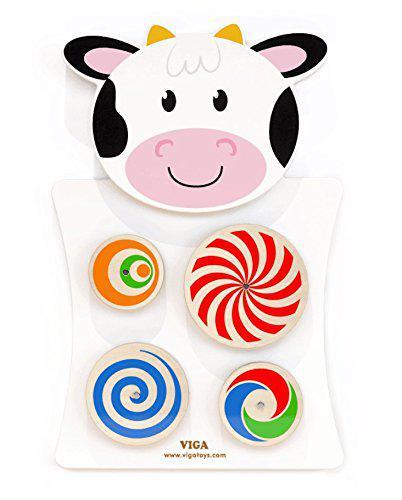 Игрушка настенная бизиборд Корова с кругами Viga toys (50677)