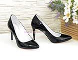 Туфли на шпильке, женские лаковые, рептилия черная, фото 3