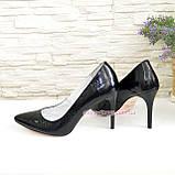 Туфли на шпильке, женские лаковые, рептилия черная, фото 4