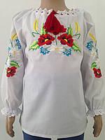 Вишита сорочка для дівчинки з кольоровим орнаметом та довгими рукавами  Батист cd98d228321e4